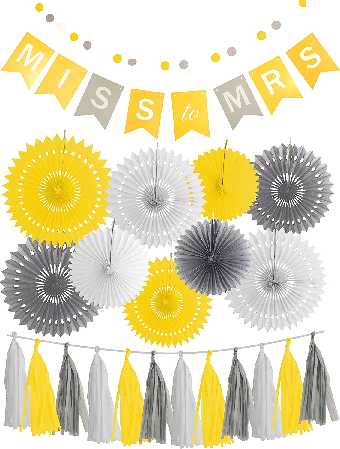 Bridal Shower - Miss to MRS MISS TO MRS DECORATIONS- BACHELORETTE PARTY DECORATIONS - BRIDAL SHOWER DECORATIONS Yellow Grey White Set