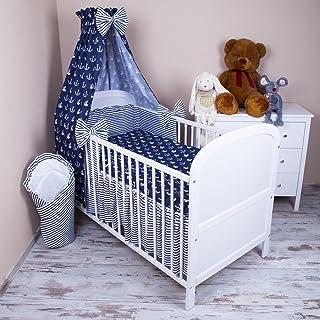 LOOLAY/® 2 tlg 40x60 cm Bettw/äsche f/ür Kinderbett Baby Bettset Gr/ö/ße 100x135 cm Muster: Anker marineblau// Streifenmuster marineblau