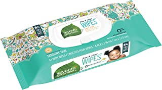 Seventh Generation Free & Clear Baby Wipes with Flip Top Dispenser Unscented and Sensitive Gentle as Water 64 count