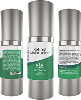 Retinol Moisturizer Cream For Face and Eye Area - Night Facial Cream with Hyaluronic Acid, Jojoba Oil - Anti Aging, Diminishes Wrinkles, Fine Lines and Acne 2 oz.