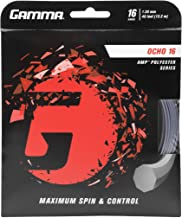 Gamma Sports AMP OCHO Tennis Racket String Polyester Series- Octagonal Shape Delivers Maximum Ball Bite, Spin, Power, and Control - 16 or 17 Gauge (Neon Yellow, Silver)