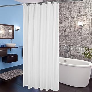 AooHome シャワーカーテン 防水 防カビ 浴室 ホテル 高級 無地 白 遮光 目隠し バス用品 間仕切り カーテンリング付き 取付簡単 90×150 cm