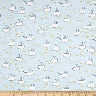 Michael Miller Cloud Flannel Sarah Jane Out to Sea Find The Narwhal Fabric by The Yard