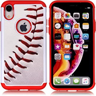 iPhone XR Case - Baseball Sports Pattern Shock-Absorption Hard PC and Inner Silicone Hybrid Dual Layer Armor Defender Protective Case Cover for Apple iPhone Xr 6.1 inch(2018)