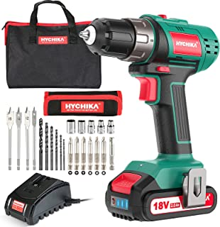 Sponsored Ad – Cordless Drill 18V/20V, HYCHIKA Electric Drill with 2000mAh Li-Ion Battery, 35N·m and 21+1 Torque Setting, ...