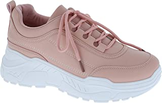 ILLUDE Women's Platform Lace up Sneaker Lightweight Casual Everyday Walking Fashion Sneakers Shoes