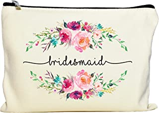 Bridesmaid Makeup Bag, Bridesmaid Gift, Bridal Party Favor, Cosmetic Pouch, Wedding Party Gift, Gift from Bride