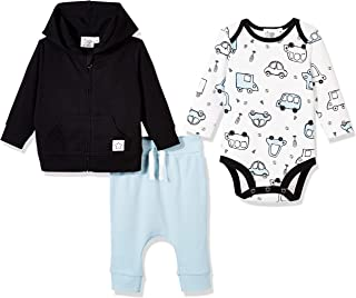 Baby Toddler Boys Fall Thanksgiving Cars Outfit 3-Piece Zipped Hoodie Jacket, Bodysuit and Pant Set