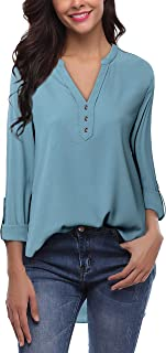 Lotusmile Women's V Neck 3/4 Cuff Sleeve Pleated Casual Blouse Floral Print Tops Tunic Shirt