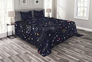 Lunarable Constellation Bedspread Set Queen Size, Star Clusters Galaxies and Planets Astrology Themed Abstract Illustration, Decorative Quilted 3 Piece Coverlet Set with 2 Pillow Shams, Multicolor