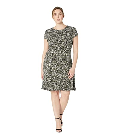MICHAEL Michael Kors Plus Size Pebble Camo Flounce Dress (Black/Ivy) Women
