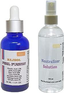 REJSOL Peel Fusion 30ml Glycolic Acid 15%, Lactic Acid 20%, Kojic Acid 10%, Citric Acid 5%, Mandelic Acid 15% with Neutralizer 100 ml Chemical Peel, Peeling Kit, Acne Peel