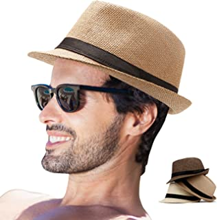 Mens Fedora Hats for Men - Fedora Hat Panama Hat Straw Hat Trilby Hat Summer Hat (Pack of 3)
