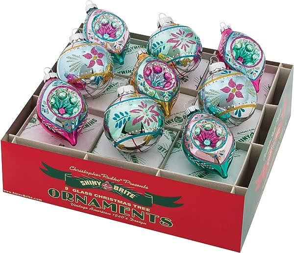 Shiny Brite Vintage Celebration 2 5 Round And Tulip Reflector Ornaments Set Of 9