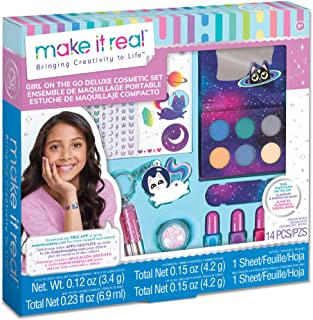 Make It Real – Girl-on-The-Go Cosmetic Set - All in One Starter Makeup Kit for Girls and Tweens - Includes Lip Gloss Tube...