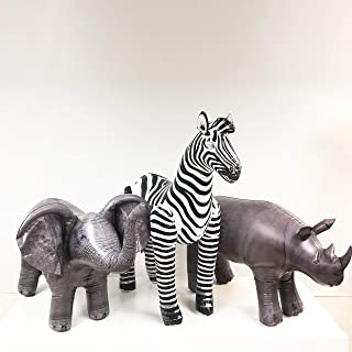 Jet Creations Elephant Rhino Zebra Inflatable Safari 3 Pack Decoration Birthday for Kids & Adults an-ERZ, Multicolor