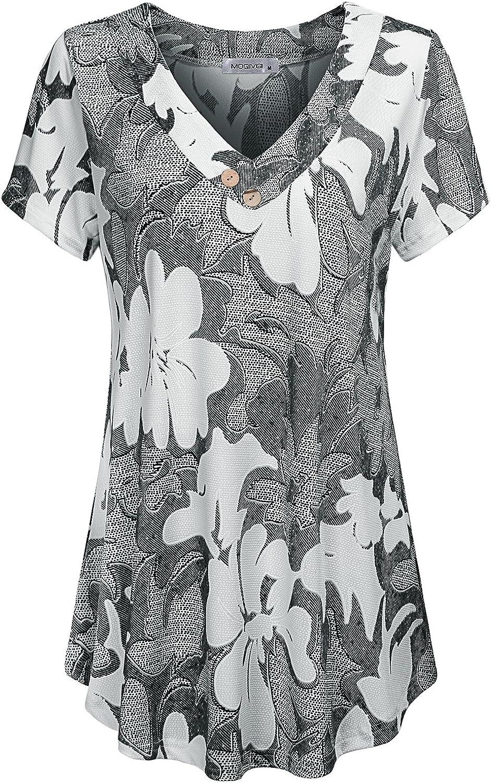MOQIVGI Womens V Neck Short Sleeve Floral Print Blouse Tops Fashion Casual Tunic Shirts