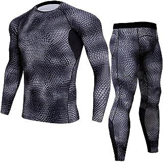 TieNew Men's Compression Base Layers Set Long Sleeve T-shirt Long Tights Set Fitness, Compression Long Sleeve Mens Base La...