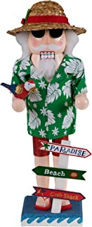 Clever Creations Traditional Beach Santa Claus Wooden Christmas Nutcracker Festive Holiday Decor | Wearing Hawaiian Shirt & Straw Hat | Holding a Parrot | 100% Wood | 14