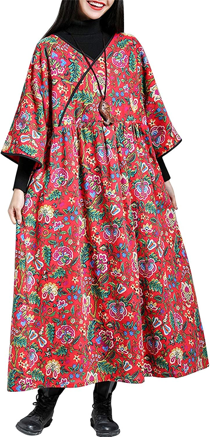 CEFULTY Women's Vintage Floral Printed VNeck Thick Maxi Dress with Pocket (color   Red, Size   2XL)