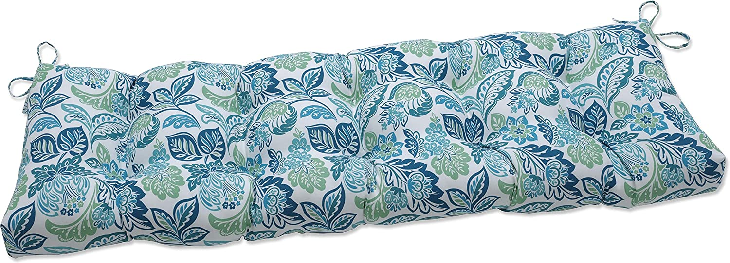 Pillow Perfect Indoor Dailey Opal Outdoor Tufted Bench Swing Cushion, 60 X 18 X 5, Blue