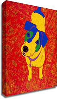 Tangletown Fine Art Feisty Jack Russell Print on Canvas, 14 x18, red, White, Yellow