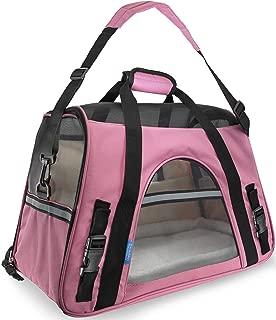 jeab shop Pet Carrier Soft Sided Large Cat Dog Comfort Rose Wine Pink Bag Travel Approved