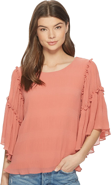 1.STATE Womens Ruffled Asymmetrical Sleeves Blouse