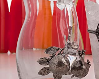 Vagabond House Pewter Orange Blooms Glass Juice Serving Pitcher 8