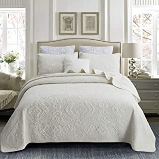 Brandream Quilt Set Cotton Queen Size Bedspread Coverlet Set 100% Cotton Cream White Luxury Quilted Comforter Sets Damask Embroidery Lightweight