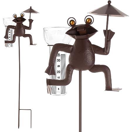 Artecsis Pluviometro a forma di rana in metallo per giardino, balcone, terrazza, in vetro con scala, spina da giardino, 115 cm