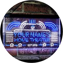 Personalized Your Name Custom Home Theater Established Year Dual Color LED Neon Sign White & Blue 400 x 300 mm st6s43-ph1-...