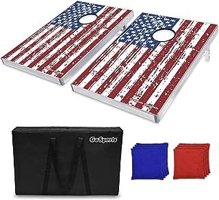 GoSports Cornhole Bean Bag Toss Game Set - Superior Aluminum Frame (American Flag, Football, LED and Classic designs)