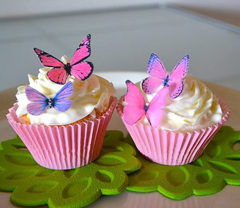 Edible Butterflies? - Small Assorted Pink and Purple Set of 24 - Cake and Cupcake Toppers, Decoration