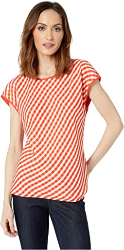 Cap Sleeve Clean Simple Stripe Blouse