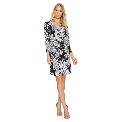 CATHERINE Catherine Malandrino 3/4 Sleeve Inverted Pleat Dress (French Floral Black) Women