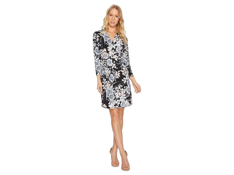 CATHERINE Catherine Malandrino 3/4 Sleeve Inverted Pleat Dress (French Floral Black) Women