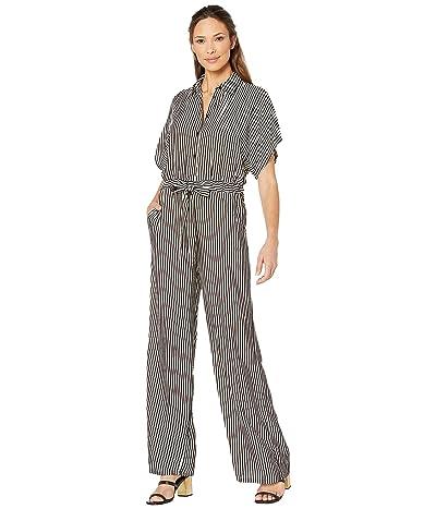 MICHAEL Michael Kors Mini Ribbon Stripe Jumpsuit (Black/Bone) Women