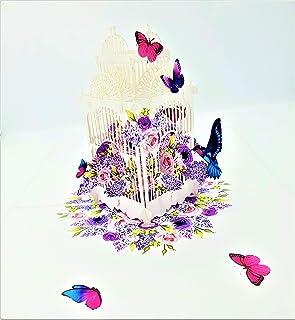 BC Worldwide Ltd 3D pop-up card birdcage farfalla compleanno, San Valentine, festa della mamma, pensione, grazie, addio al...