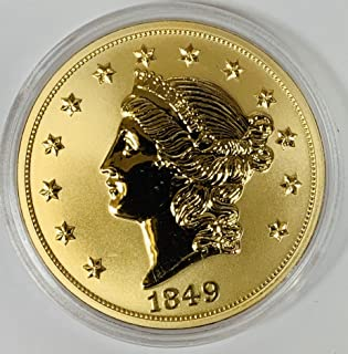 Tribute to 1849 Liberty Head Gold Double Eagle Copper Layered in 24K Gold American Mint Round Uncirculated