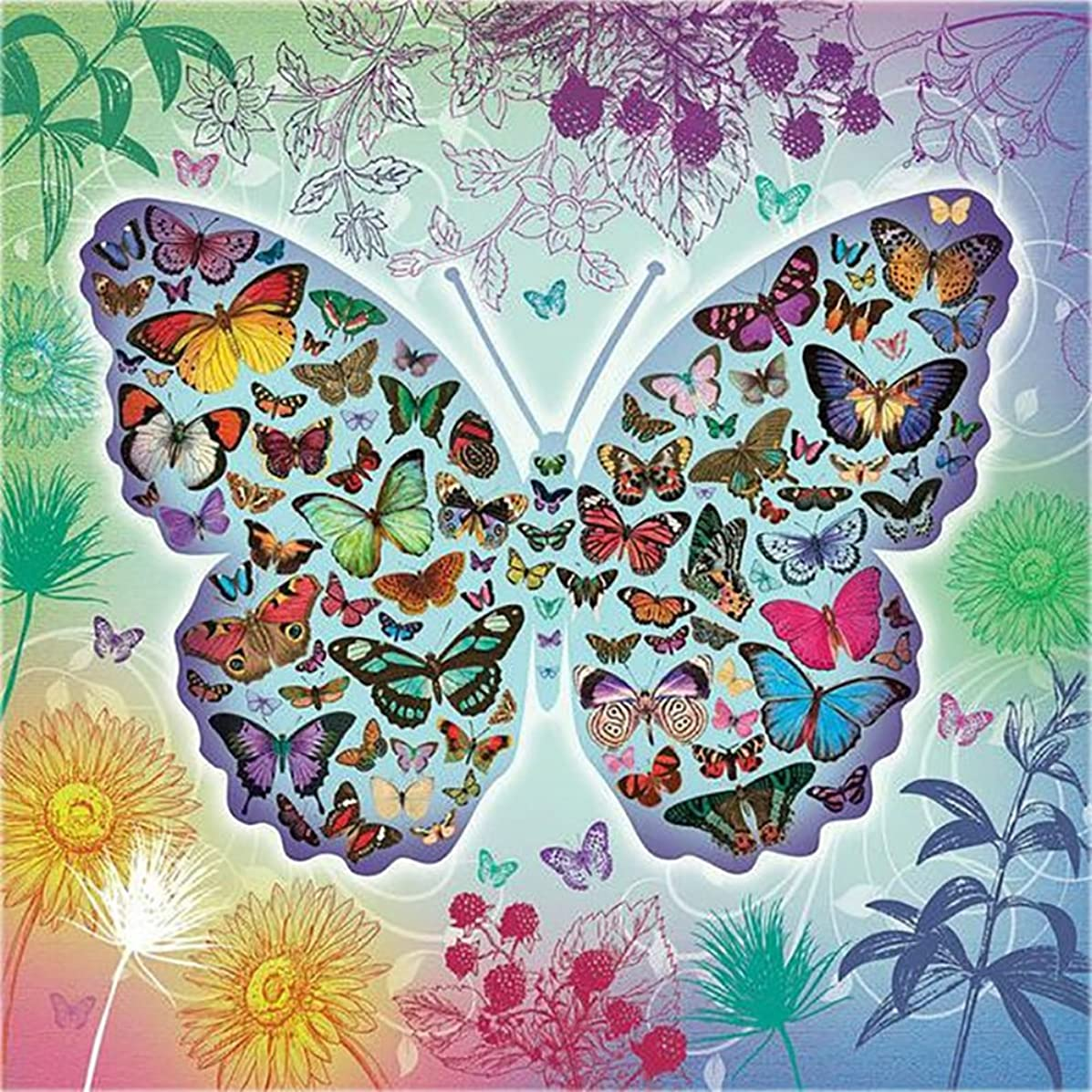 Mobicus Blxecky 5D DIY Diamond Painting,by Number Kits Crafts & Sewing Cross Stitch,Wall Stickers for Living Room Decoration,Butterfly(35X35CM/14X14inch)