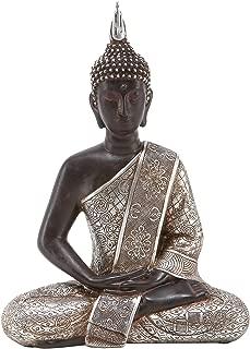 Deco 79 Tibet Buddha Dhyana Mudra with Silver Robe Polyresin, 11