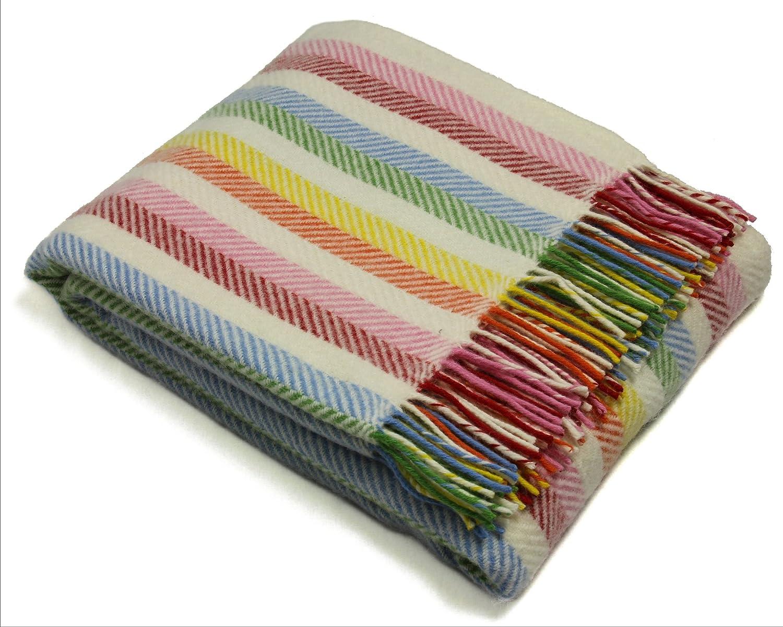 Tweedmill Throw Blanket - Pure New Wool - Rainbow Stripe