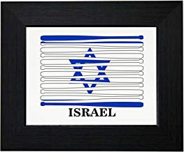 Royal Prints Israel Baseball Classic - World Vintage Bats Flag Framed Print Poster Wall or Desk Mount Options
