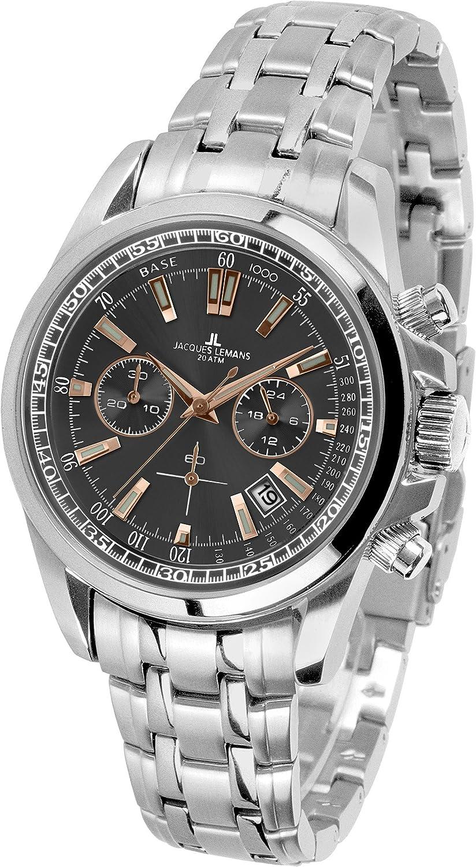 JACQUES LEMANS Liverpool 1-1117 - Reloj de pulsera para hombre con correa de metal y acero inoxidable macizo
