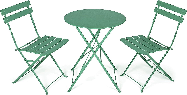 Vanage VG-6934 Juego de Muebles 3 Piezas, pequeño y Plegable, Intemperie, Resistente al Agua, Compuesto por 1 Mesa Redonda y 2 sillas, Metal, para balcón, jardín, terraza, Verde Oscuro