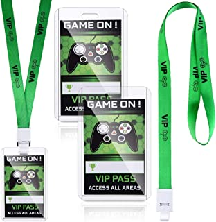 16 Pieces Video Game VIP Pass Holder Tickets Gamer Party VIP Pass Lanyards Video Game Party Favors for Game Themed Birthda...