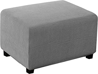 Best Stretch Ottoman Cover Ottoman Slipcover Sofa Cover Footstool Protector Storage Ottoman Covers Furniture Protector Soft Rectangle slipcover with Elastic Bottom (X-Large, Dove) Review