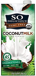 SO DELICIOUS Dairy Free Organic Coconut Milk Beverage, Unsweetened, 32 Ounce