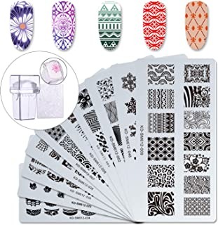 Makartt 12pcs Nail Art Stamp Stamping Templates Kit with 10pcs Plastic Manicure Plates 1 Stamper 1 Scraper for DIY & Salon Nail Art, S-01